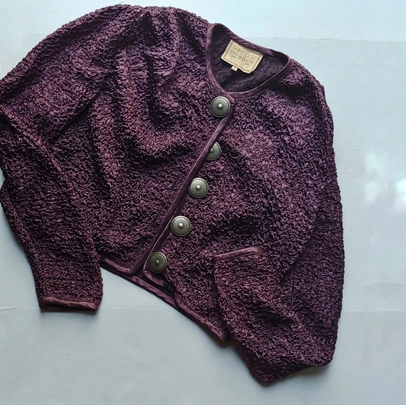 Double D Ranch Jackets & Blazers - Double D Ranch Textured Plum Cropped Jacket